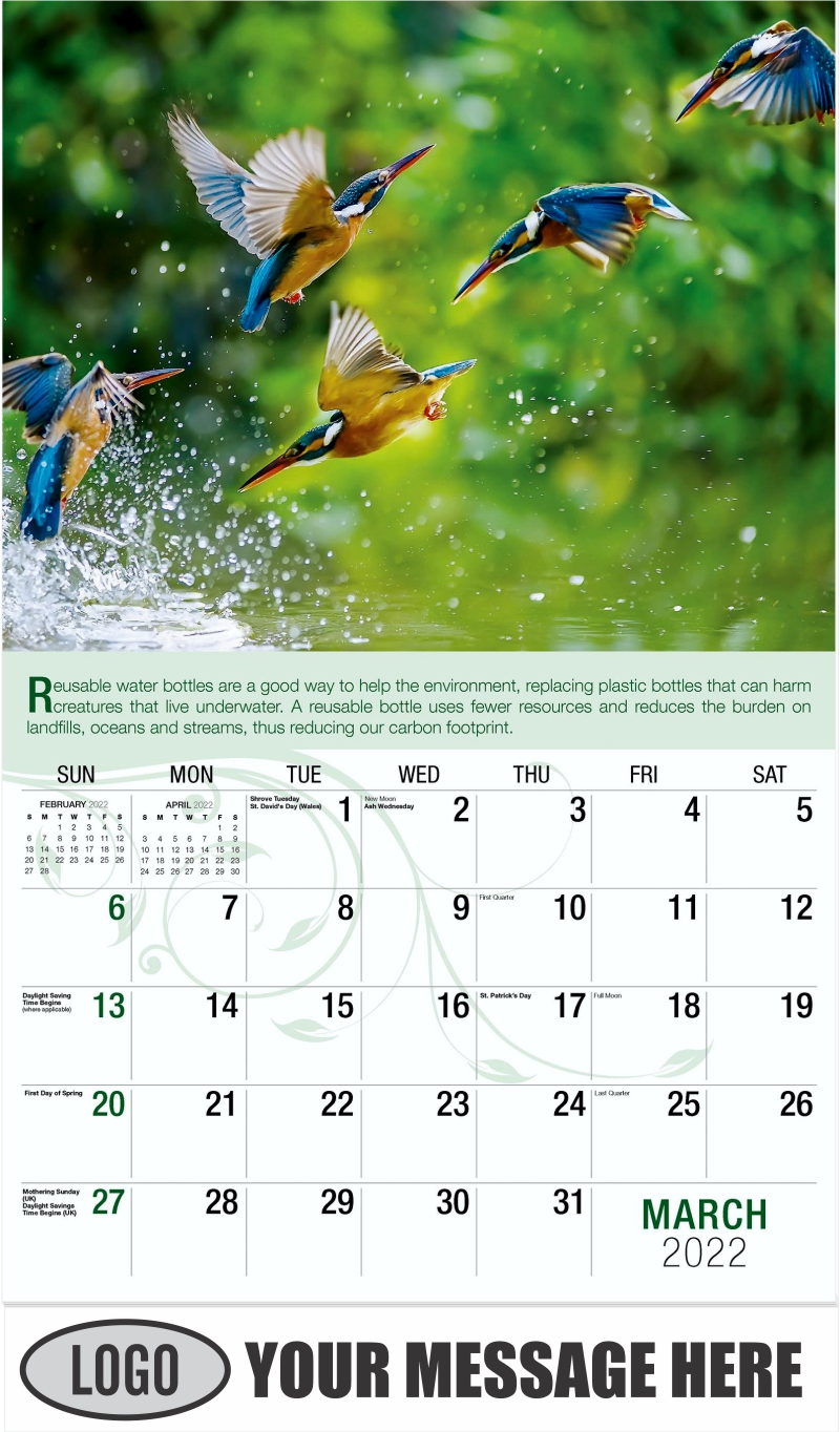 Kingfisher - March - Go Green 2022 Promotional Calendar