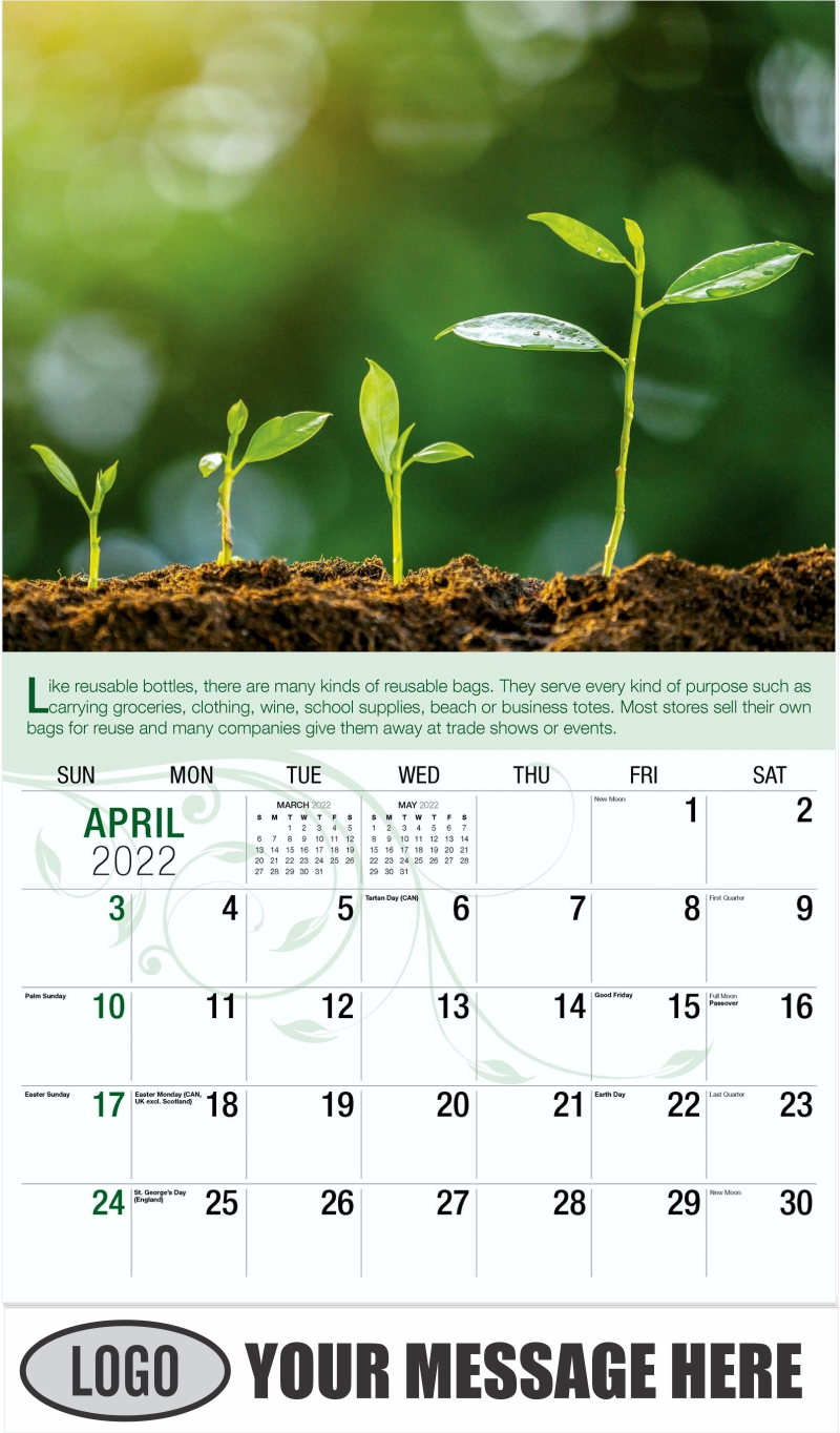 Agriculture Plant Seeding Growing Step Concept - April - Go Green 2022 Promotional Calendar