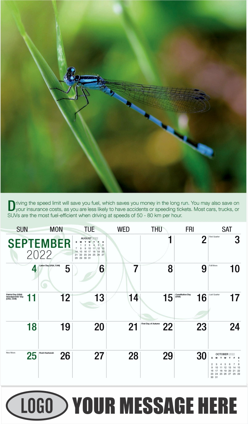 Libellule Bleu - September - Go Green 2022 Promotional Calendar