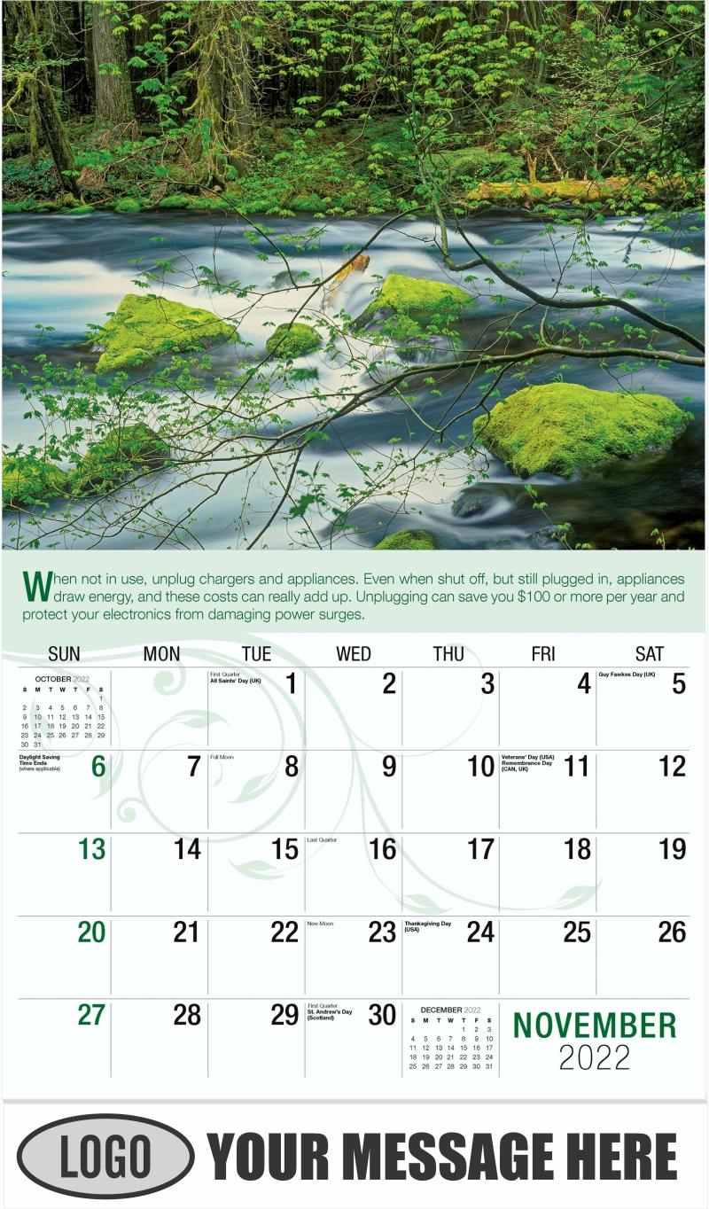 McKenzie River - November - Go Green 2022 Promotional Calendar