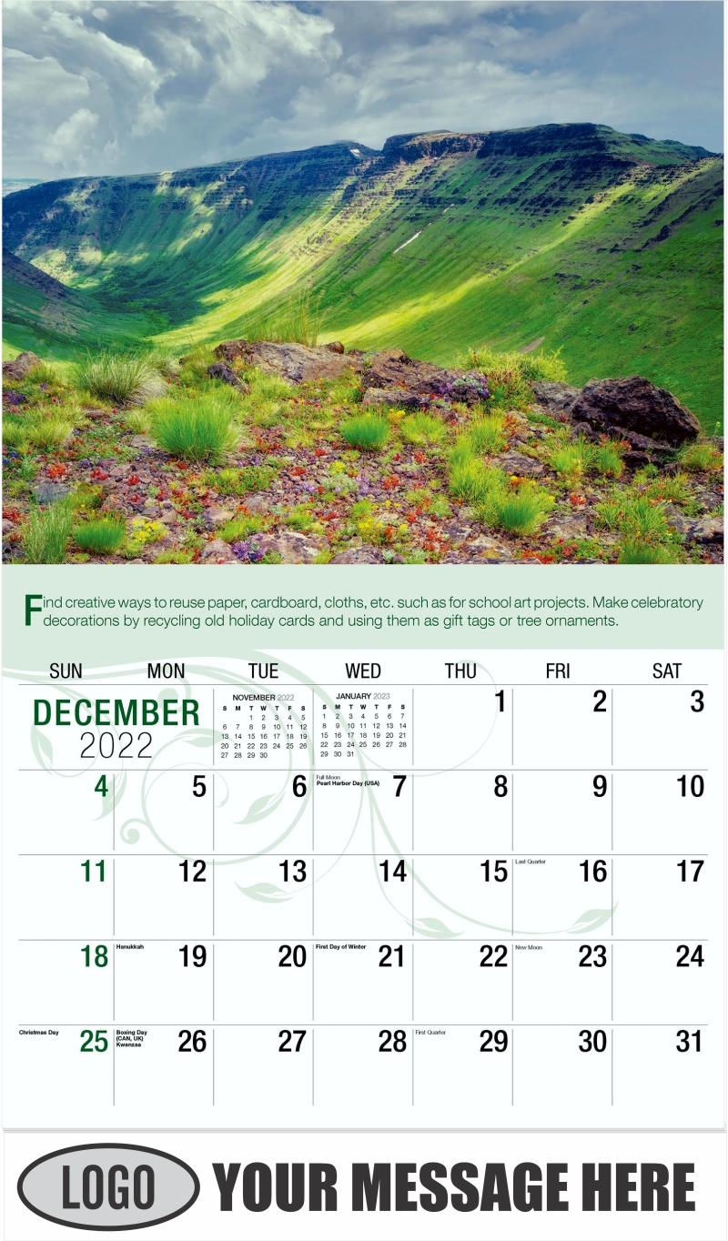 Steens Mountain Wilderness, Oregon - December 2022 - Go Green 2022 Promotional Calendar