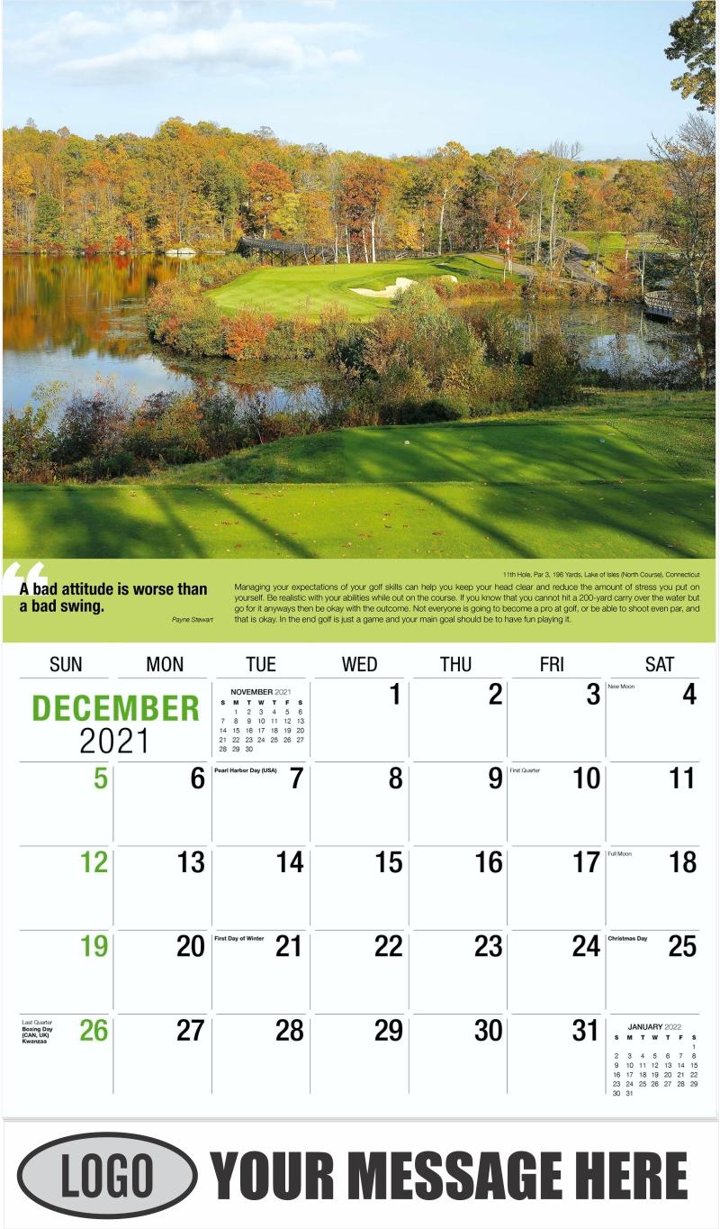 3rd Hole, Par 3, 205 Yards, Mauna Kea Beach Hotel Golf Course, Kamuela, Hawaii - December 2021 - Golf Tips  (Tips, Quips and Holes) 2022 Promotional Calendar