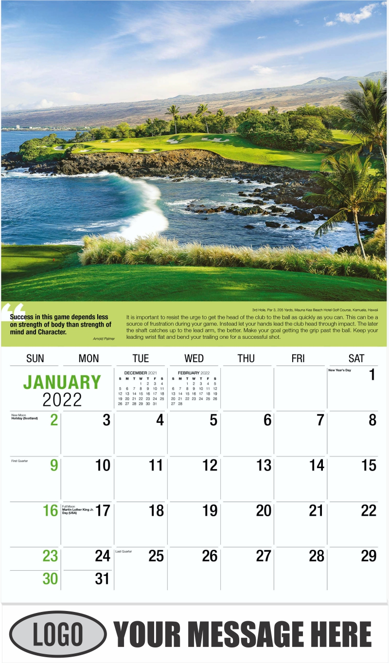 7th Hole, Par 4, 431 Yards, Admirals Cove East Course Jupiter, Florida - January - Golf Tips  (Tips, Quips and Holes) 2022 Promotional Calendar