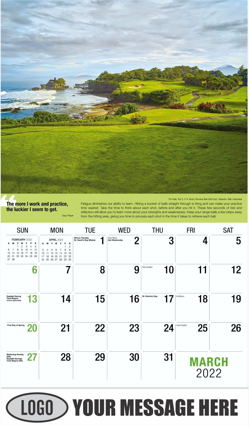 9th Hole, Par 4, 460 Yards, Shadow Creek Golf Club, North Las Vegas, Nevada - March - Golf Tips  (Tips, Quips and Holes) 2022 Promotional Calendar