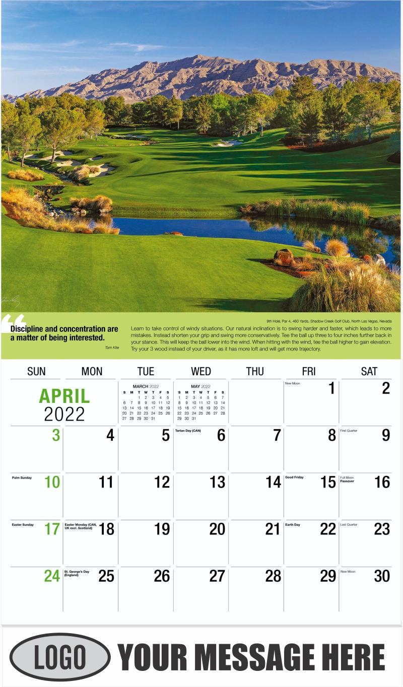 5th Hole, Par 3, 165 Yards, Machrihanish Dunes Golf Club, Campbeltown, Scotland - April - Golf Tips  (Tips, Quips and Holes) 2022 Promotional Calendar