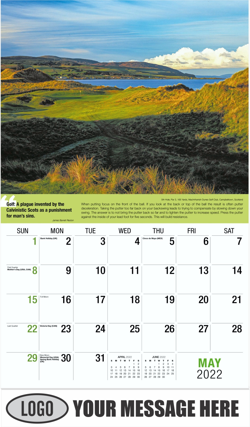 15th Hole, Par 5, 575 Yards, Ballyhack Golf Club, Roanoke, Virginia - May - Golf Tips  (Tips, Quips and Holes) 2022 Promotional Calendar