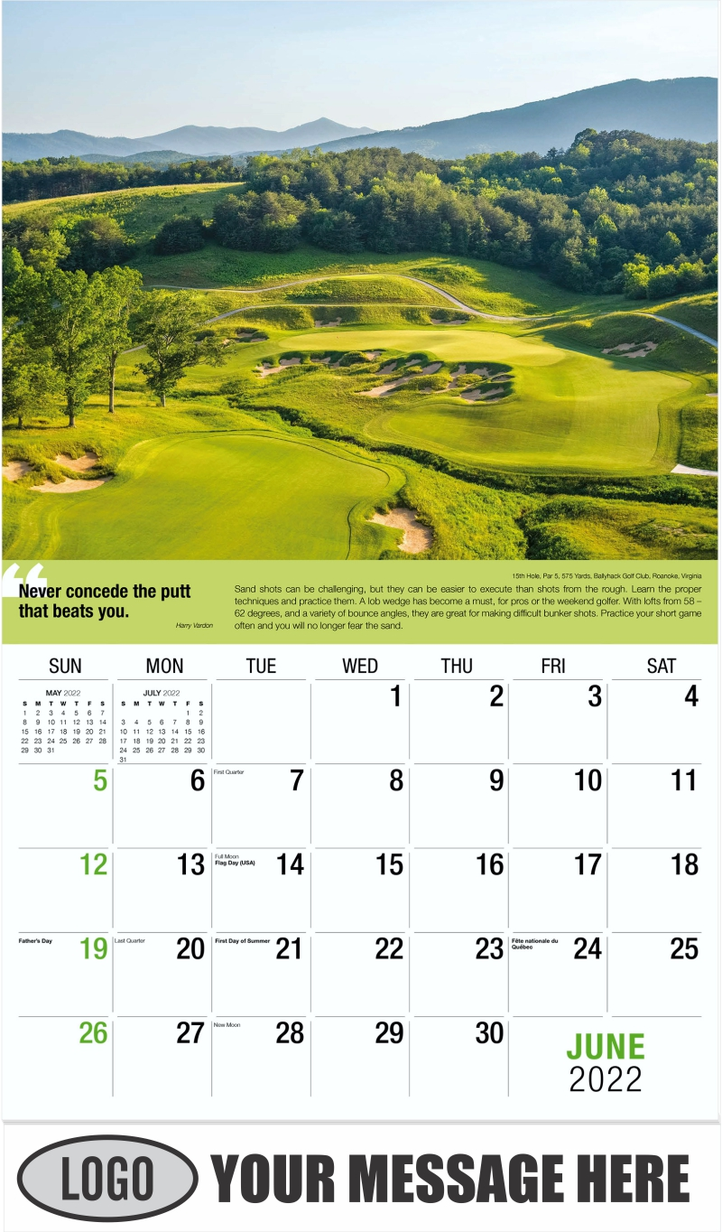 4th Hole, Par 4, 427 Yards, Old Head Golf Links, County Cork, Ireland - June - Golf Tips  (Tips, Quips and Holes) 2022 Promotional Calendar