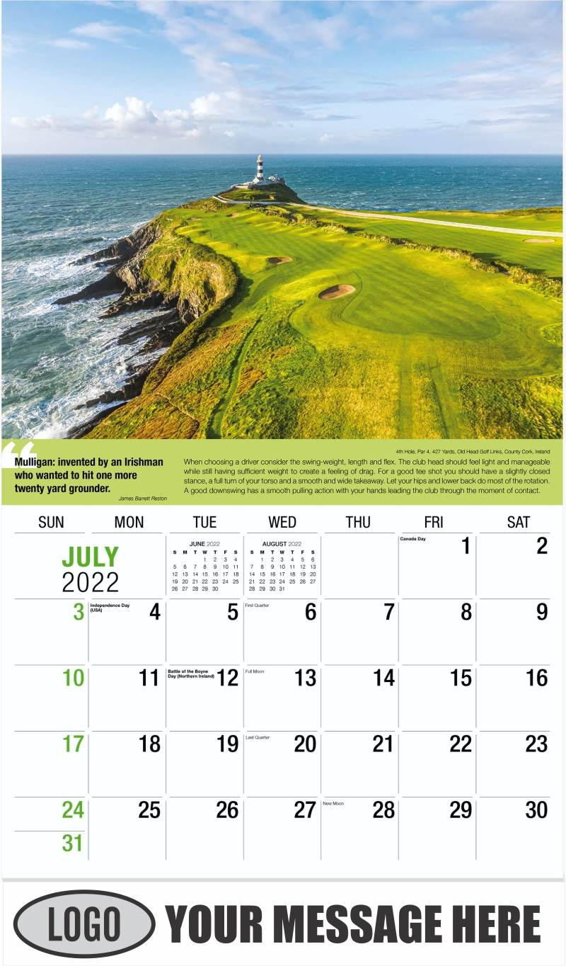 17th Hole, Par 3, 168 Yards, Red Sky Golf Club (Fazio Course), Vail, Colorado - July - Golf Tips  (Tips, Quips and Holes) 2022 Promotional Calendar