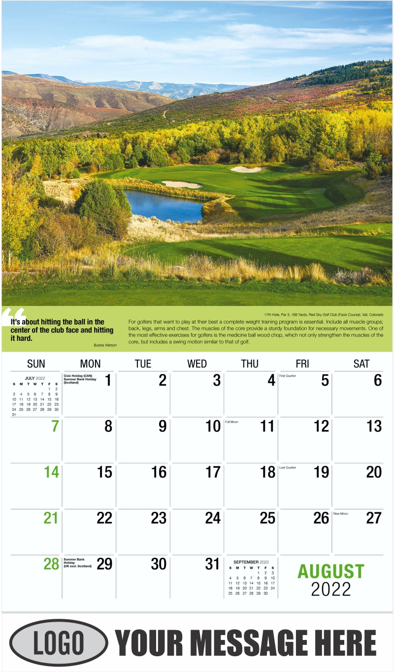 17th Hole, Par 4, 388 Yards, Belfair Golf Club (West Course), Bluffton, South Carolina - August - Golf Tips  (Tips, Quips and Holes) 2022 Promotional Calendar