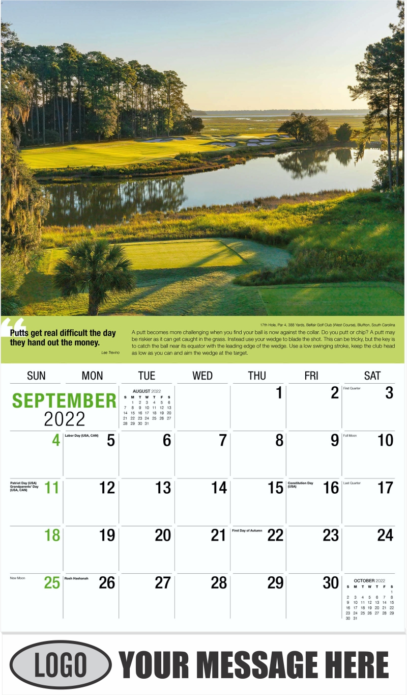 10th Hole, Par 3, 185 Yards, Nicklaus North Golf Course, Whistler, British Columbia, Canada - September - Golf Tips  (Tips, Quips and Holes) 2022 Promotional Calendar