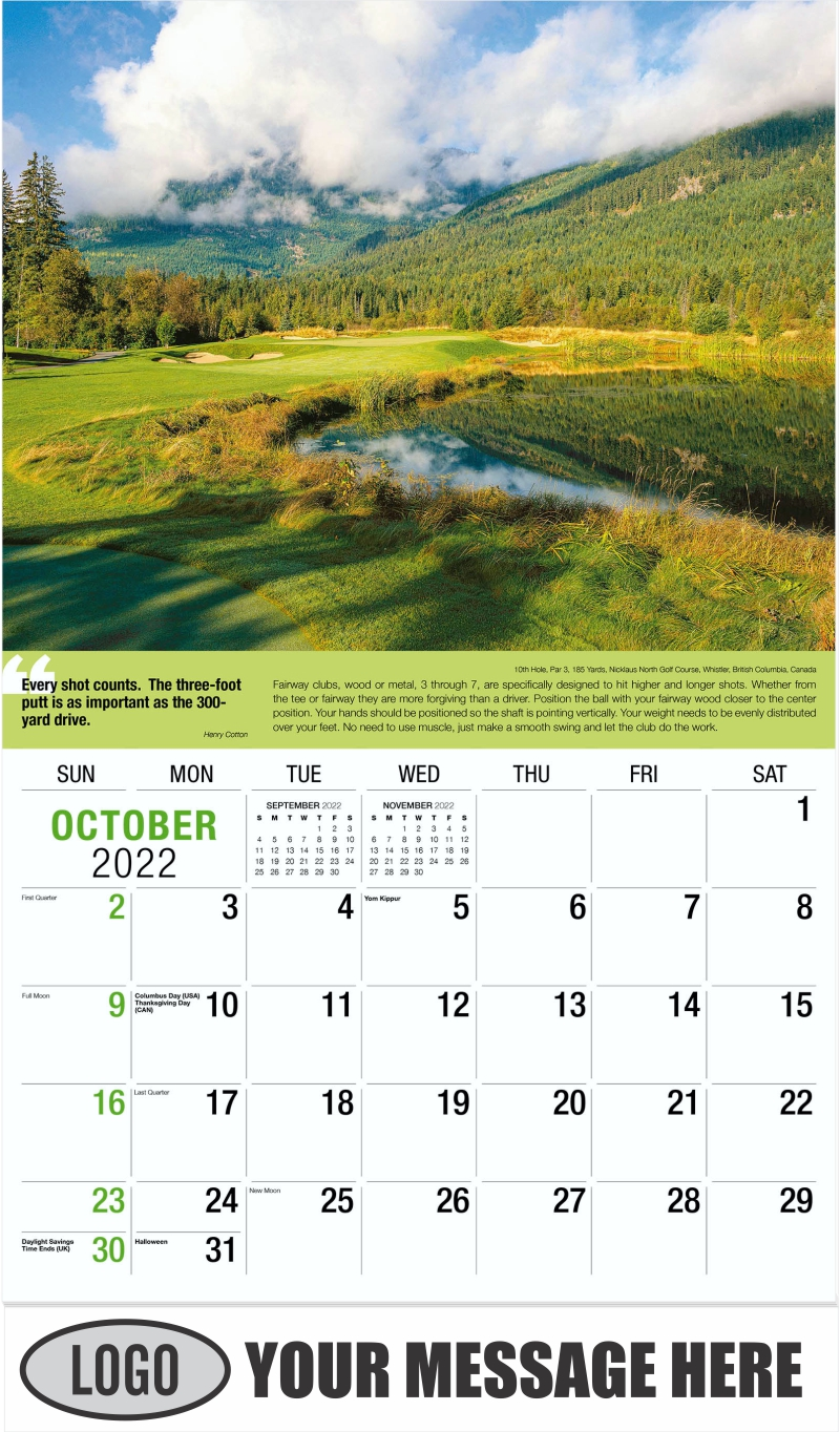 10th Hole, Par4, 334 Yards, Sugarloaf Golf Club, Carrabassett, Maine - October - Golf Tips  (Tips, Quips and Holes) 2022 Promotional Calendar