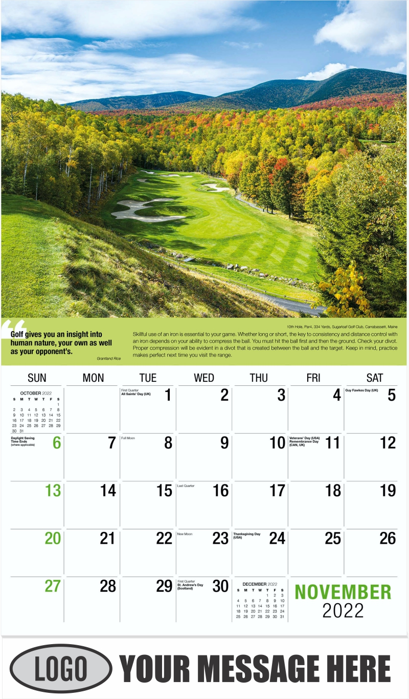 18th Hole, Par 4, 501 Yards, Corales Golf Course at Puntacana Resort & Club, Puntcana, Dominican Republic - November - Golf Tips  (Tips, Quips and Holes) 2022 Promotional Calendar