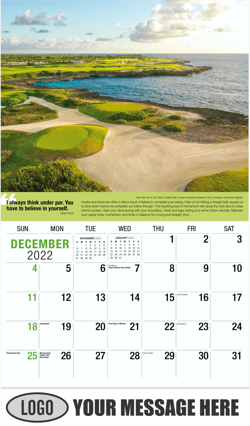 - December 2022 - Golf Tips  (Tips, Quips and Holes) 2022 Promotional Calendar
