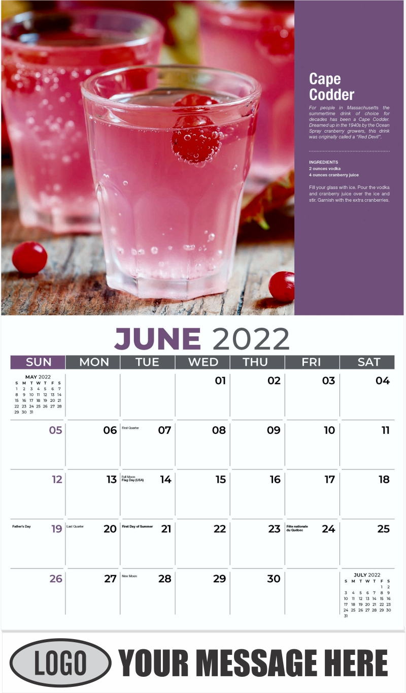 Cape Codder - June - Happy Hour Cocktails 2022 Promotional Calendar