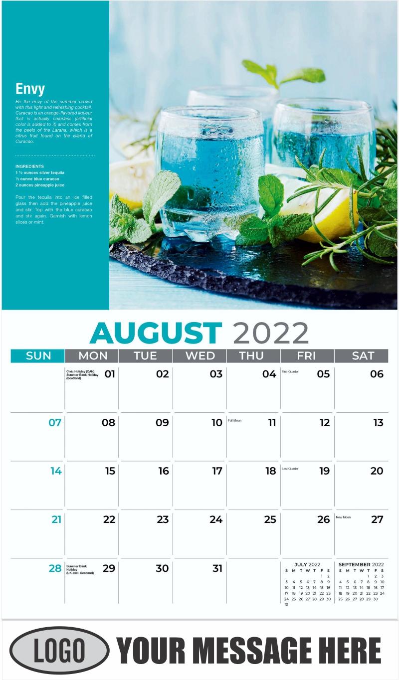 Envy - August - Happy Hour Cocktails 2022 Promotional Calendar