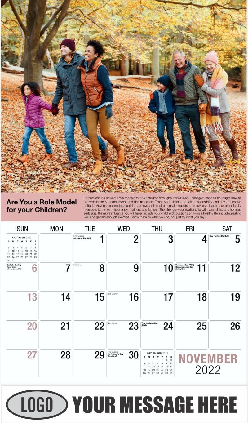 November - Health Tips 2022 Promotional Calendar
