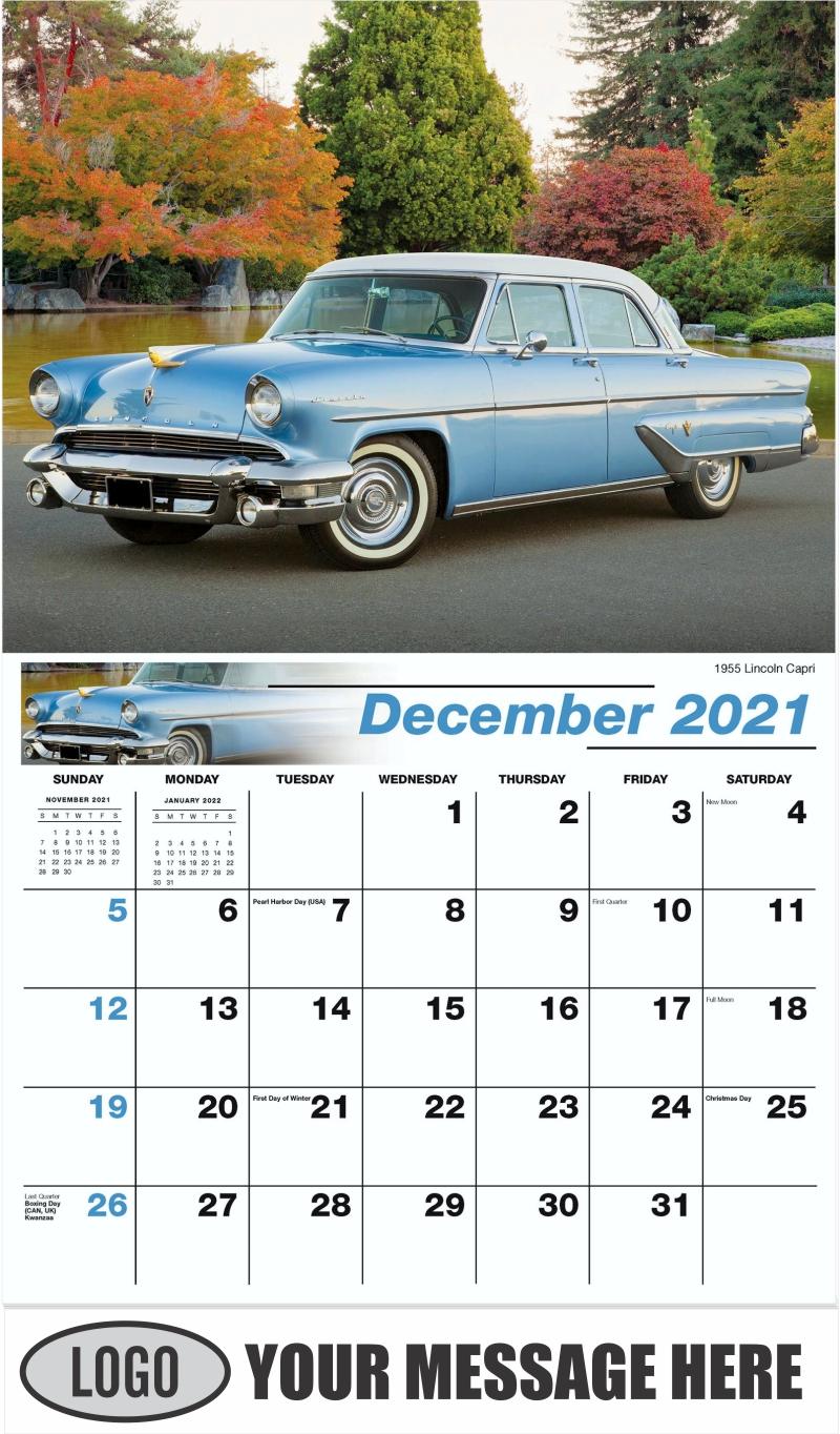 1955 Lincoln Capri - December 2021 - Henry's Heritage Ford Cars 2022 Promotional Calendar
