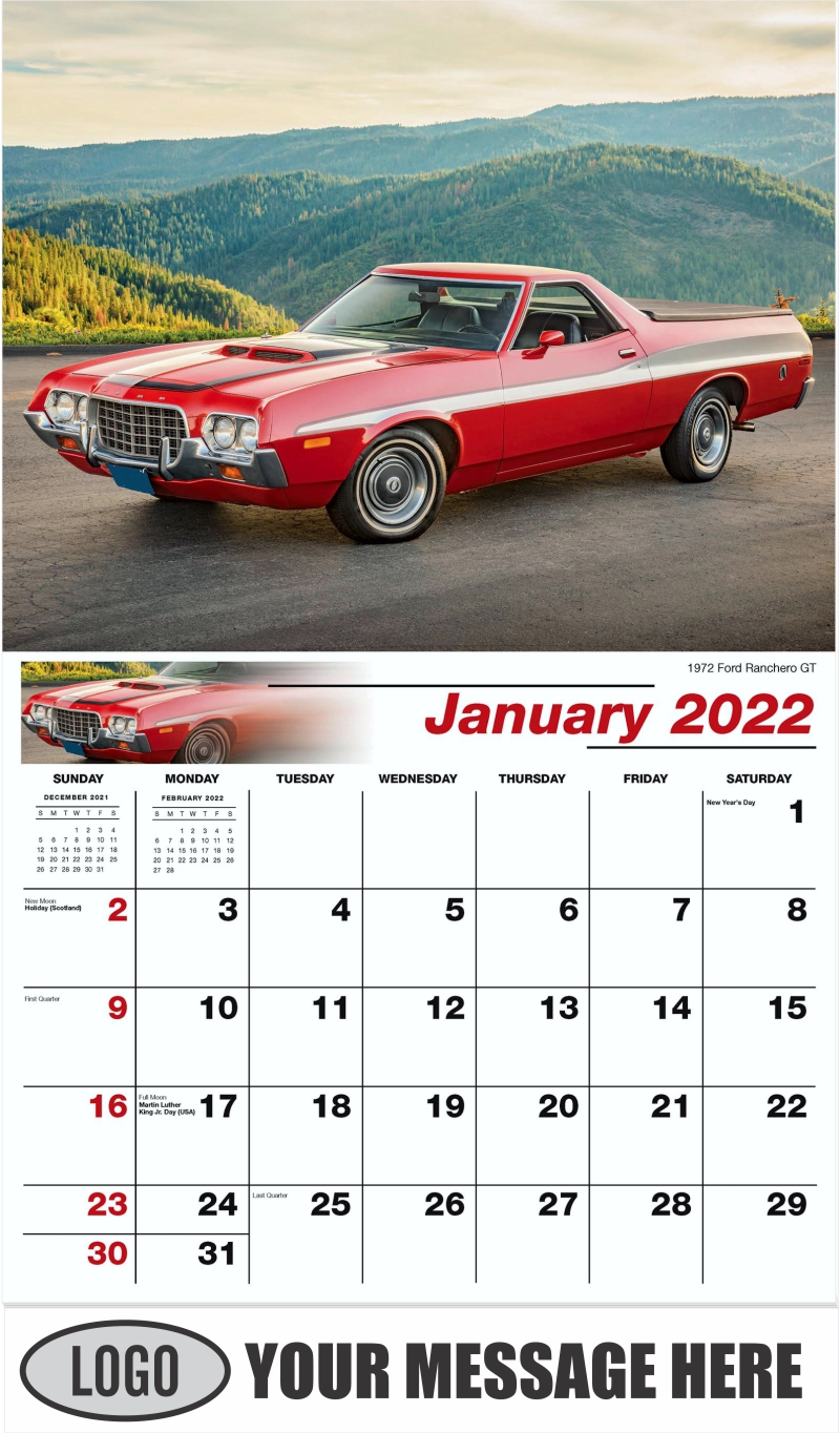 1972 Ford Ranchero GT - January - Henry's Heritage Ford Cars 2022 Promotional Calendar