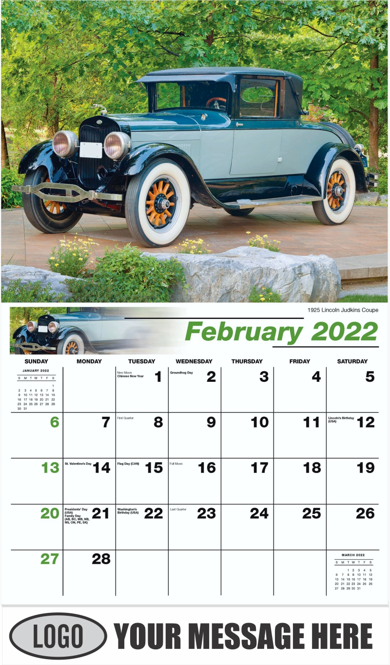 1925 Lincoln Judkins Coupe - February - Henry's Heritage Ford Cars 2022 Promotional Calendar