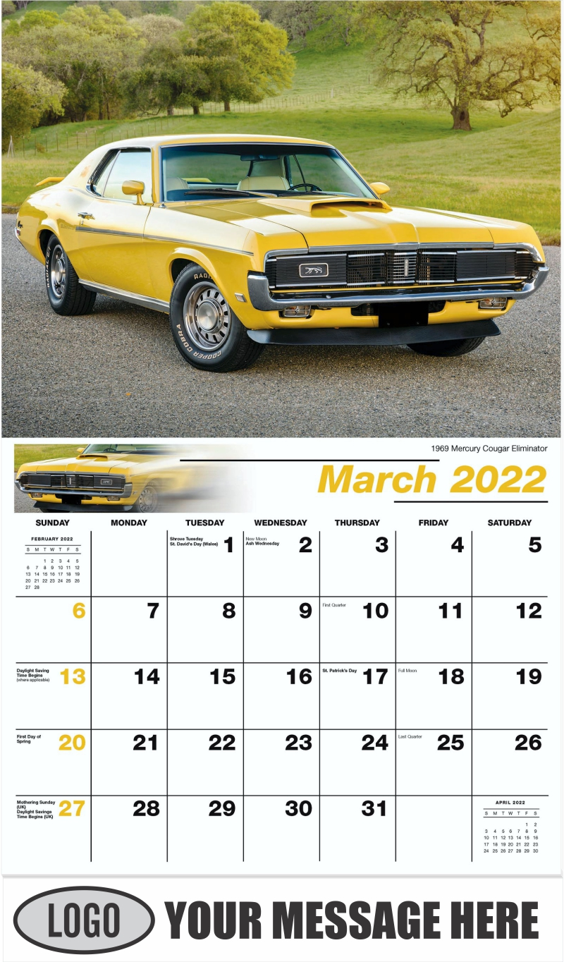 1969 Mercury Cougar Eliminator - March - Henry's Heritage Ford Cars 2022 Promotional Calendar