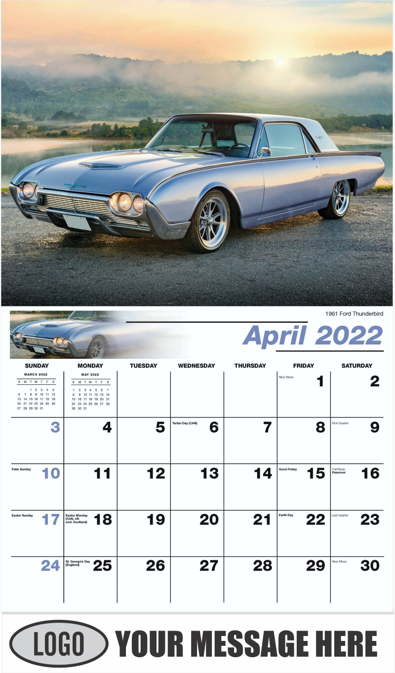 1961 Ford Thunderbird - April - Henry's Heritage Ford Cars 2022 Promotional Calendar