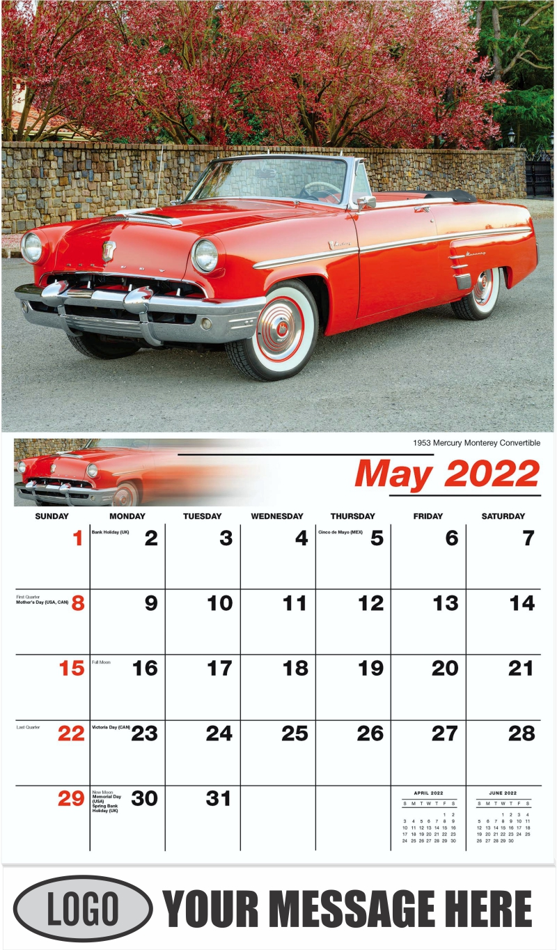 1953 Mercury Monterey Convertible - May - Henry's Heritage Ford Cars 2022 Promotional Calendar