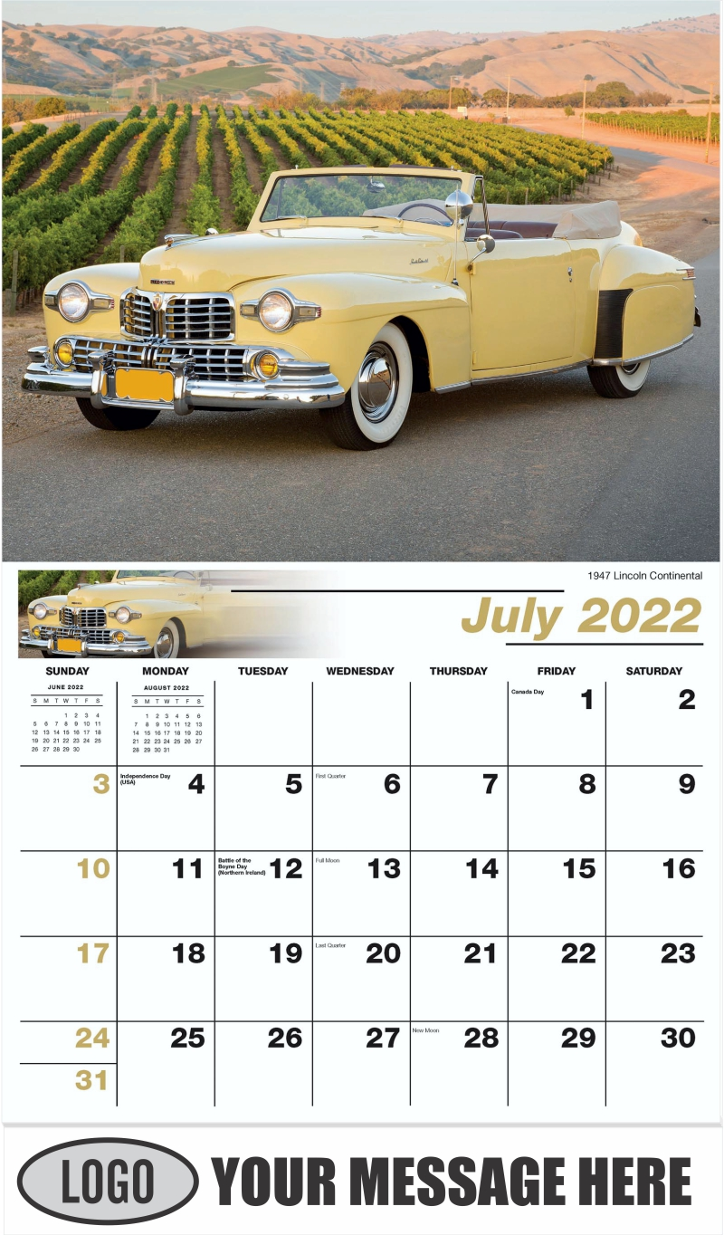 1947 Lincoln Continental - July - Henry's Heritage Ford Cars 2022 Promotional Calendar