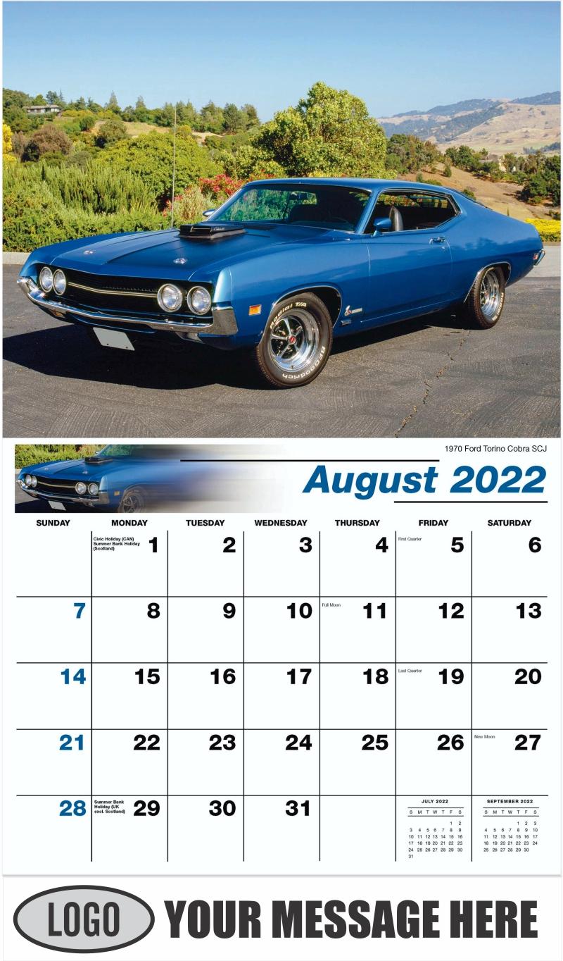 1970 Ford Torino Cobra SCJ - August - Henry's Heritage Ford Cars 2022 Promotional Calendar