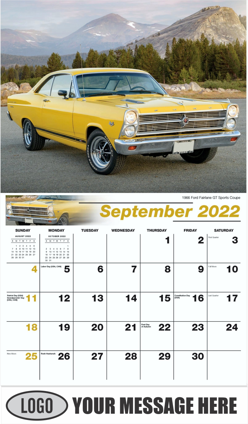 1966 Ford Fairlane GT Sports Coupe - September - Henry's Heritage Ford Cars 2022 Promotional Calendar