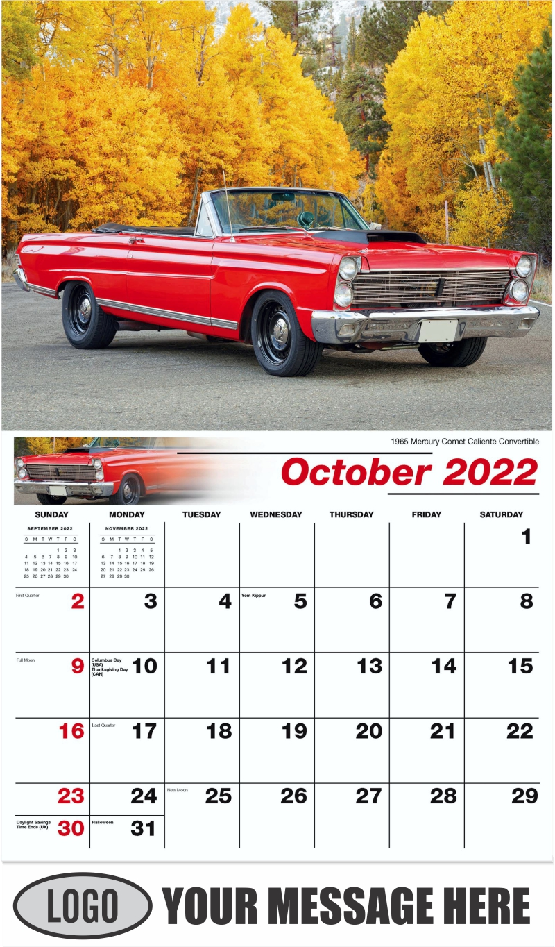 1965 Mercury Comet Caliente Convertible - October - Henry's Heritage Ford Cars 2022 Promotional Calendar