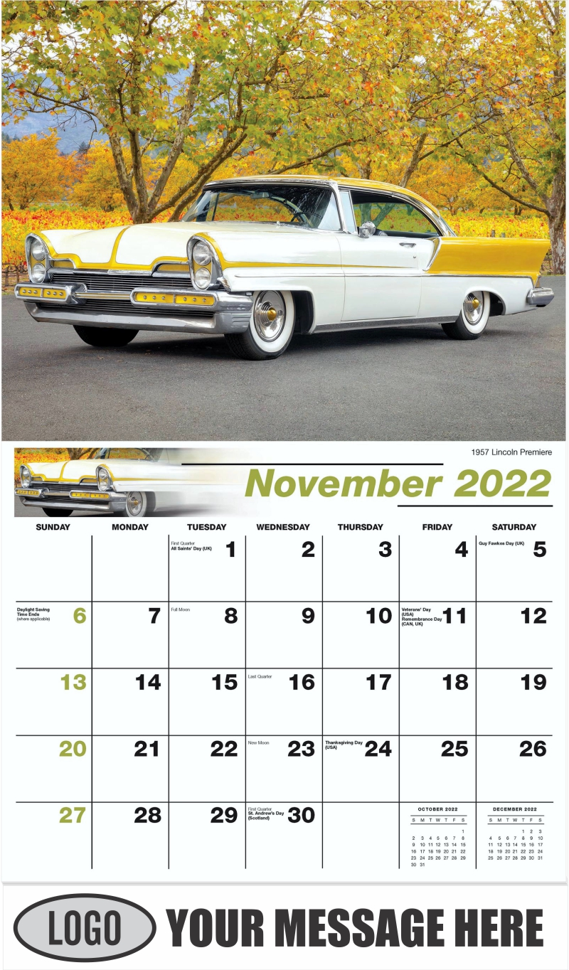 1957 Lincoln Premiere - November - Henry's Heritage Ford Cars 2022 Promotional Calendar