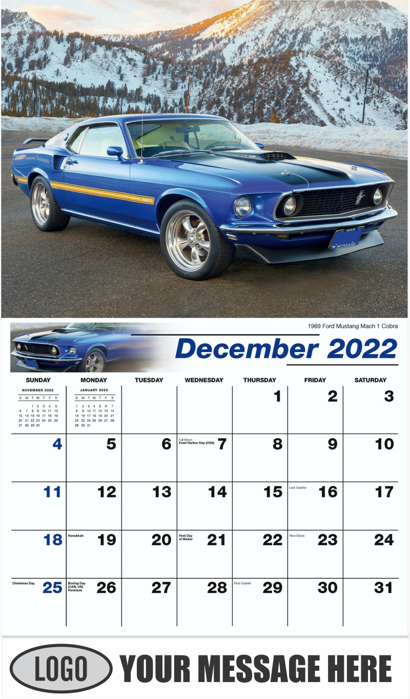 1969 Ford Mustang Mach 1 Cobra - December 2022 - Henry's Heritage Ford Cars 2022 Promotional Calendar