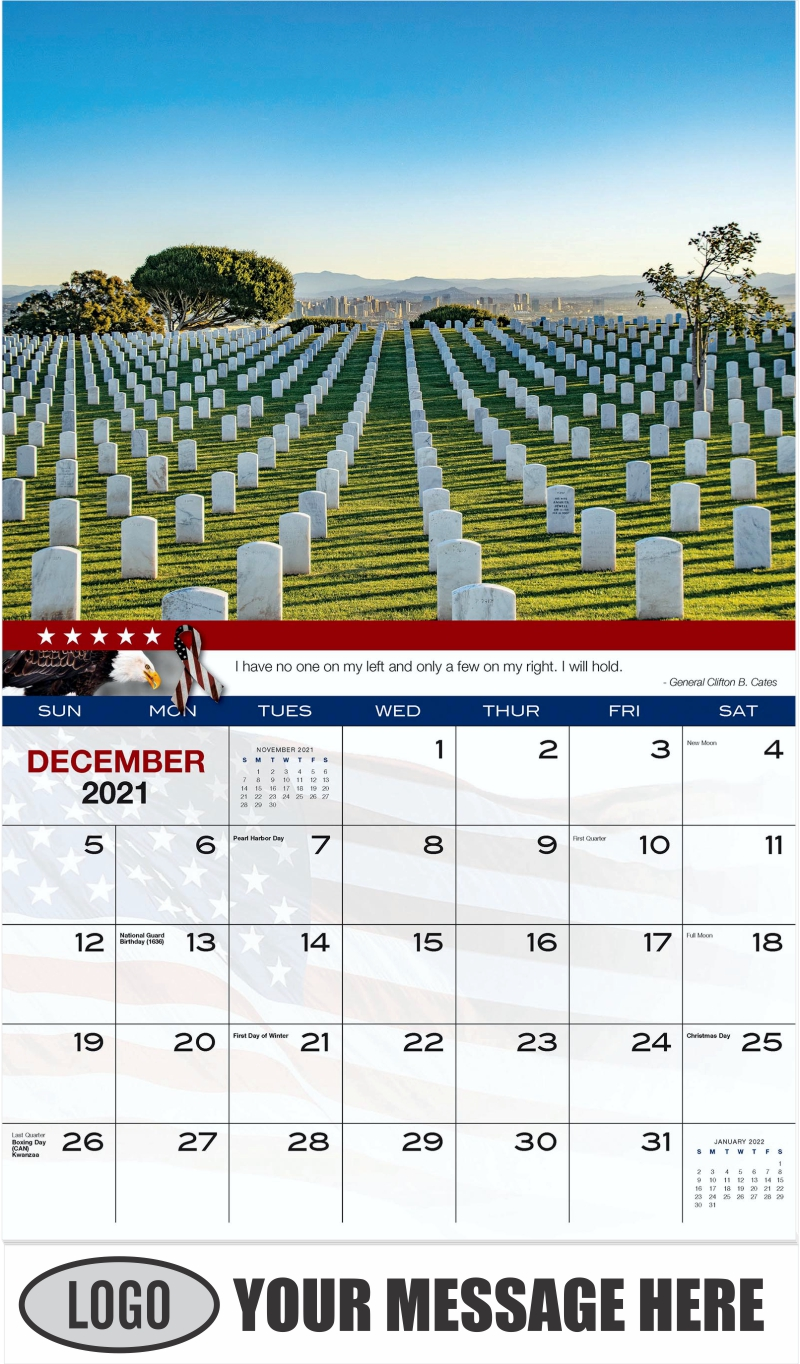 Rosecrans National Cemetery - December 2021 - Home of the Brave 2022 Promotional Calendar