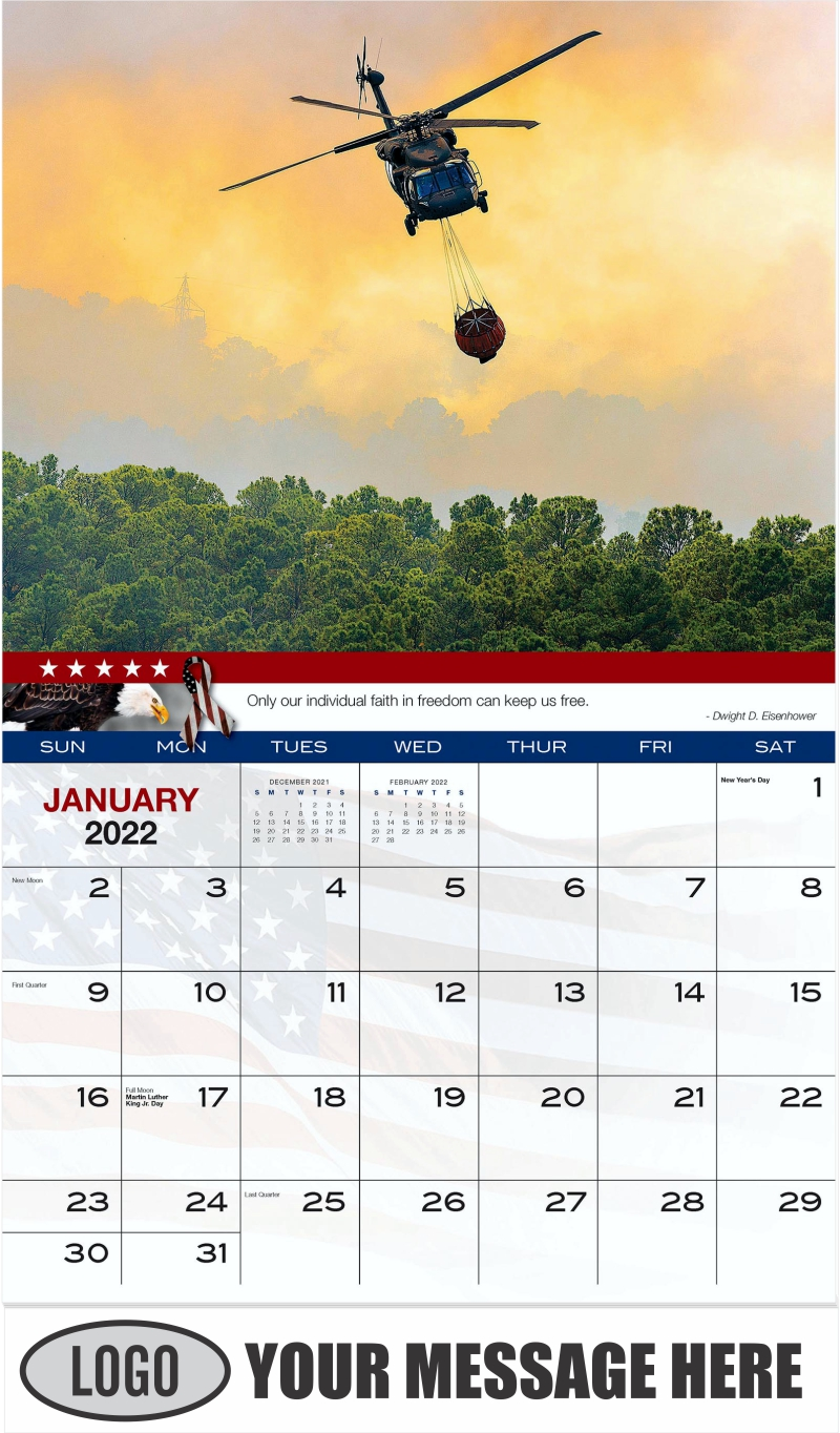 Texas Army National Guard - January - Home of the Brave 2022 Promotional Calendar