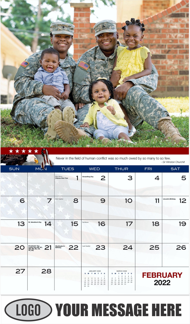 Military Family - February - Home of the Brave 2022 Promotional Calendar