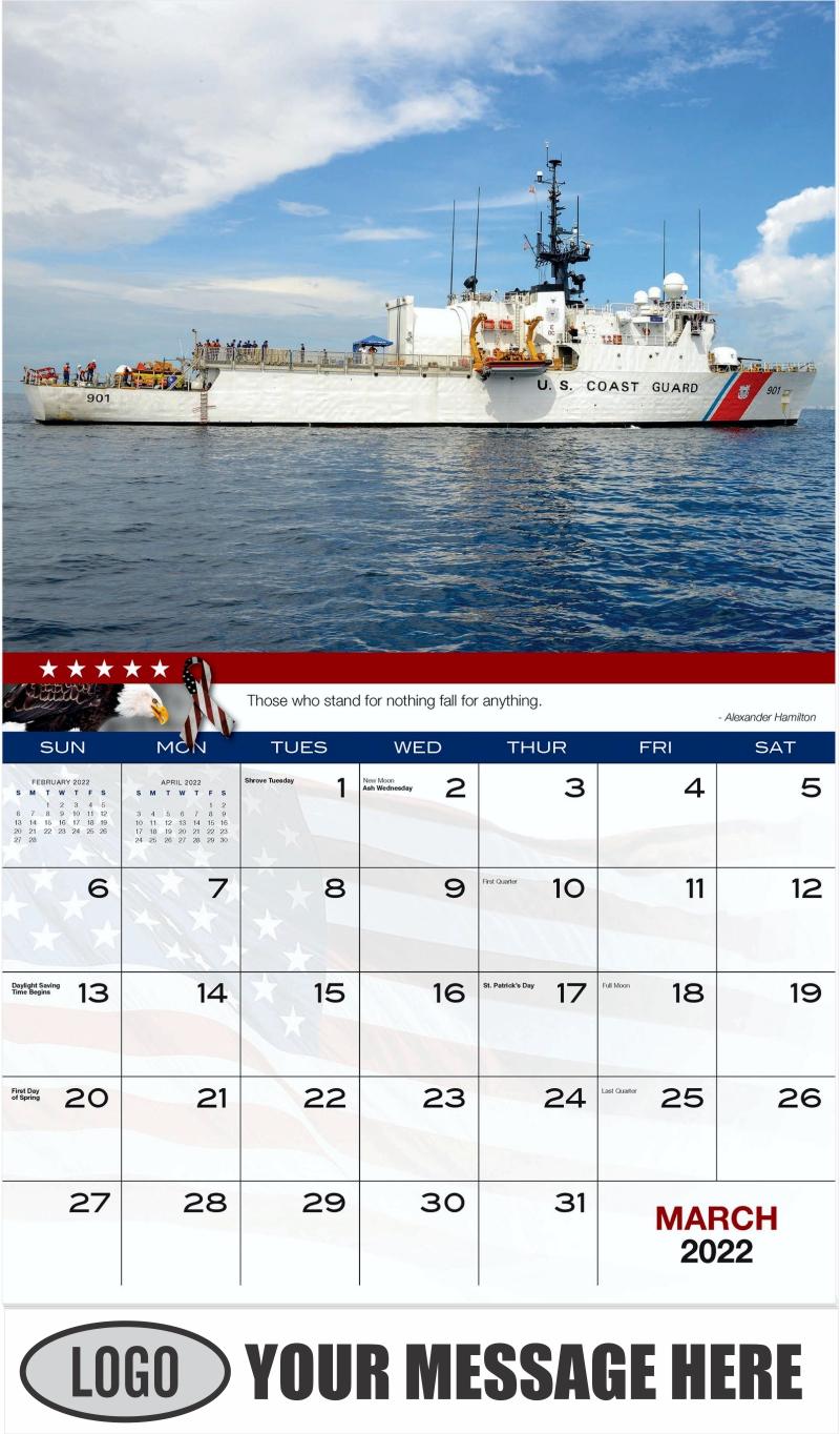U.S. Coast Guard Ship - March - Home of the Brave 2022 Promotional Calendar