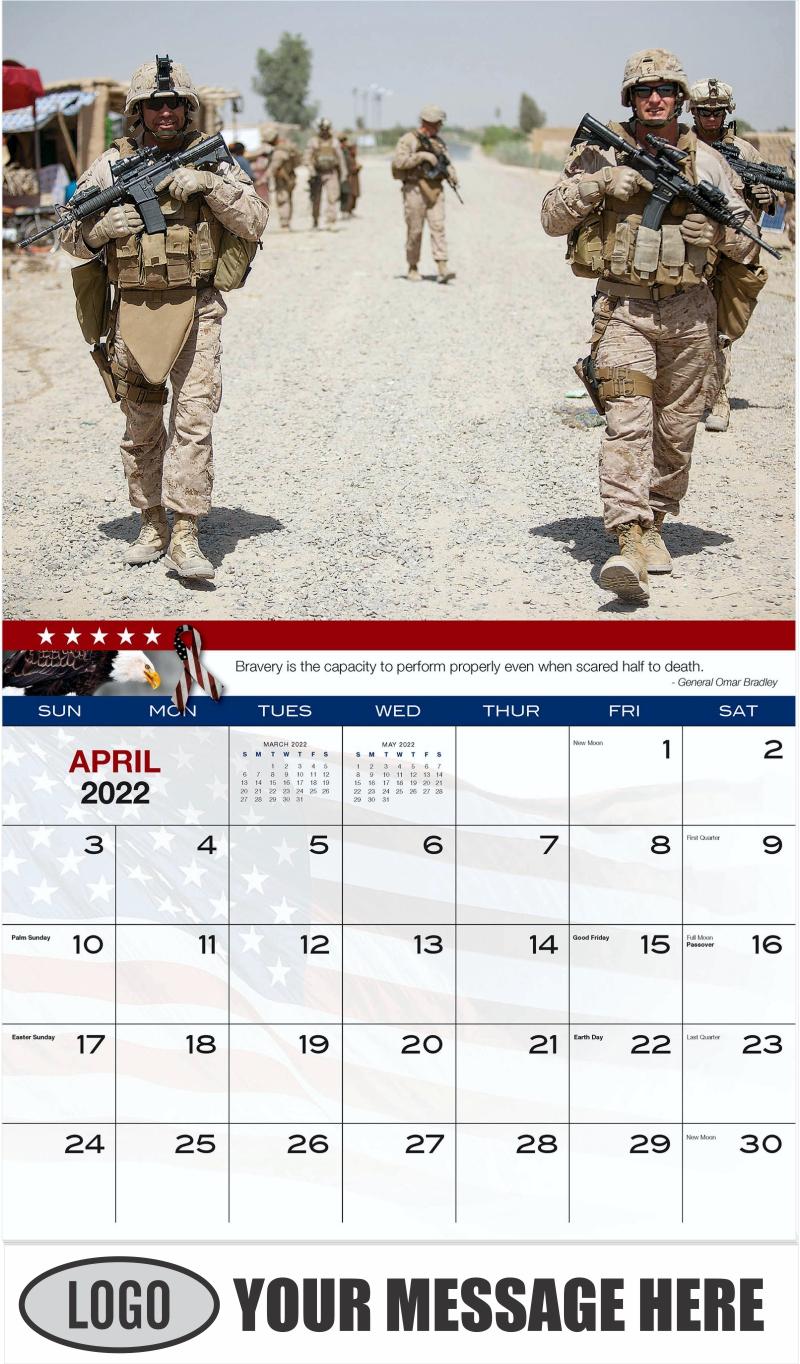 U.S. Marines Patrol - April - Home of the Brave 2022 Promotional Calendar
