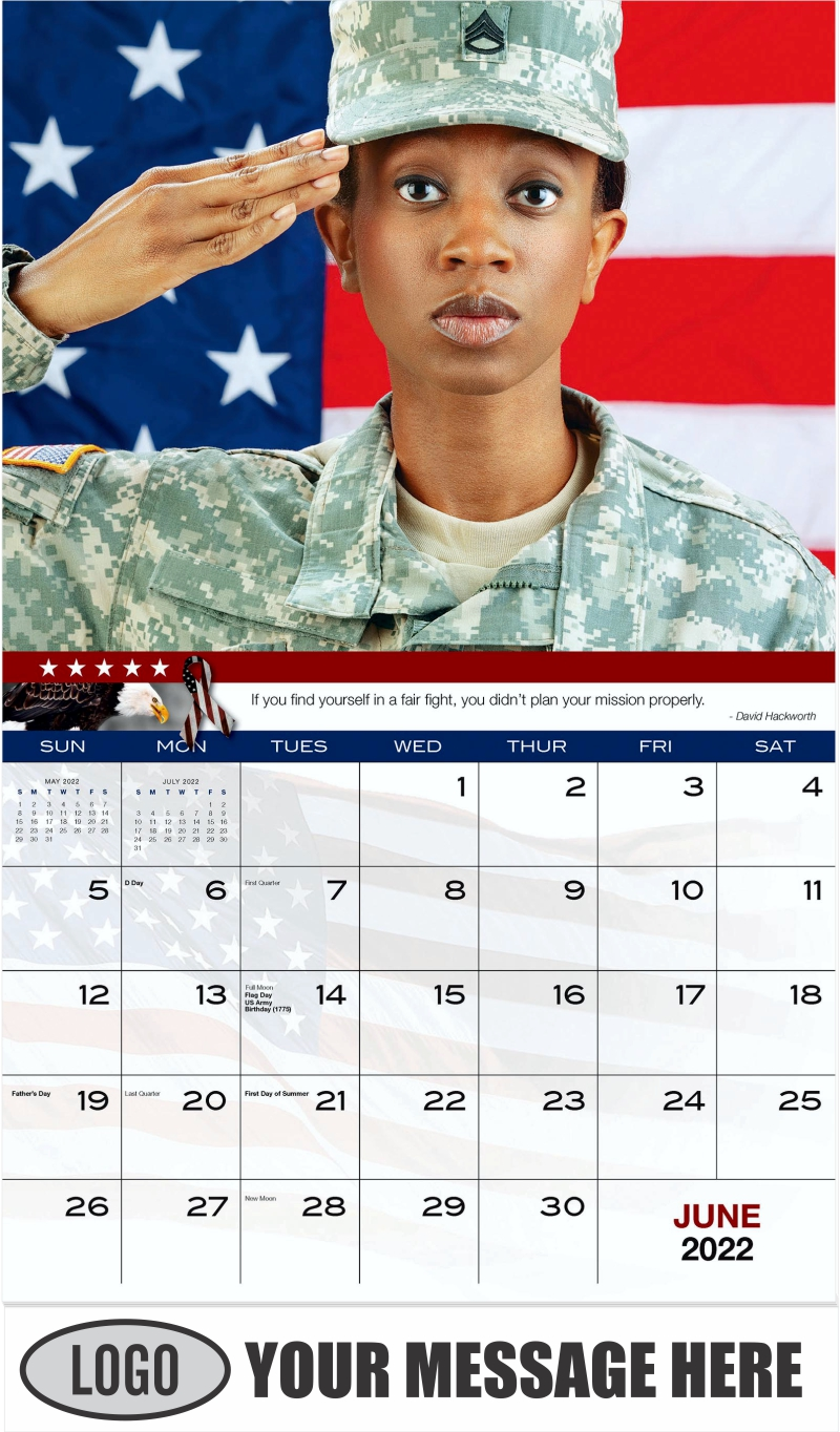 Female African American Army Soldier - June - Home of the Brave 2022 Promotional Calendar
