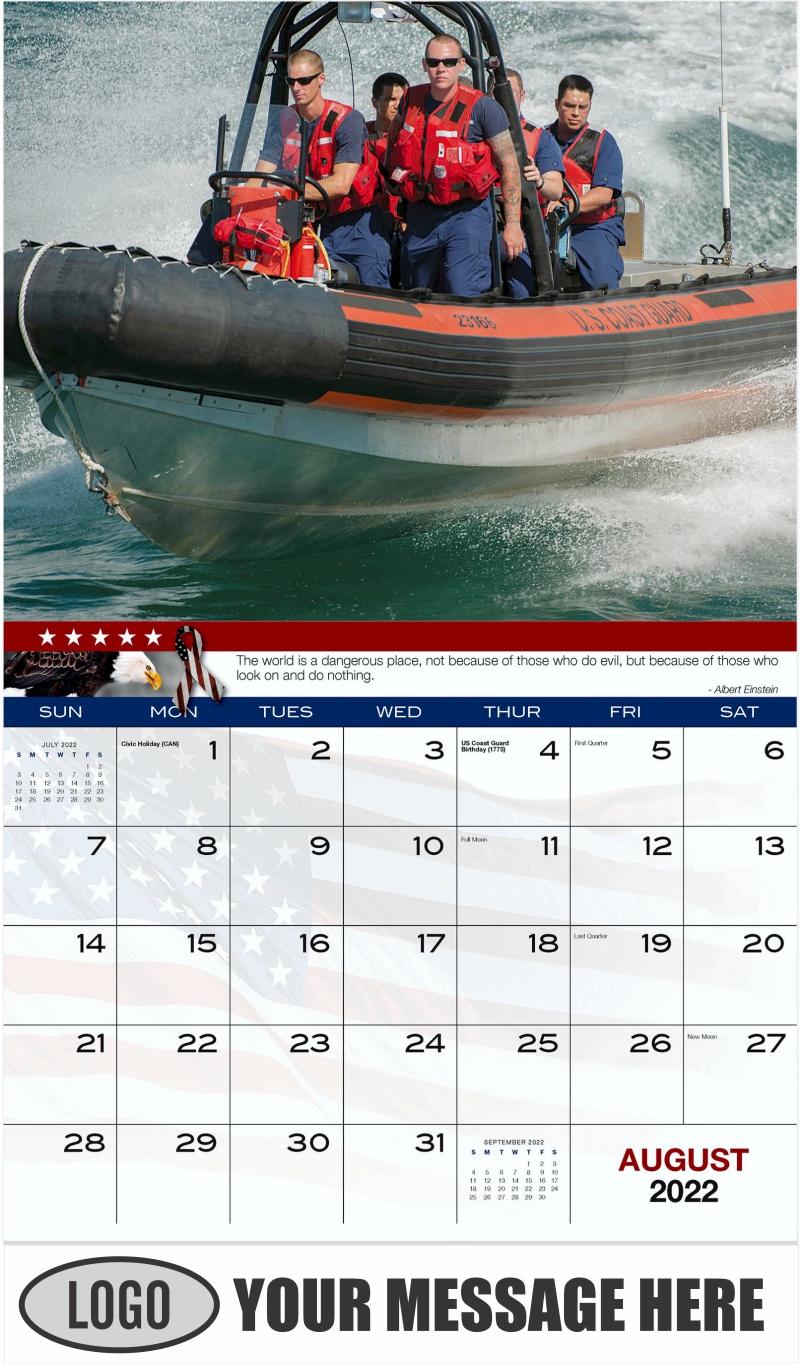 U.S. Coast Guardsmen - August - Home of the Brave 2022 Promotional Calendar
