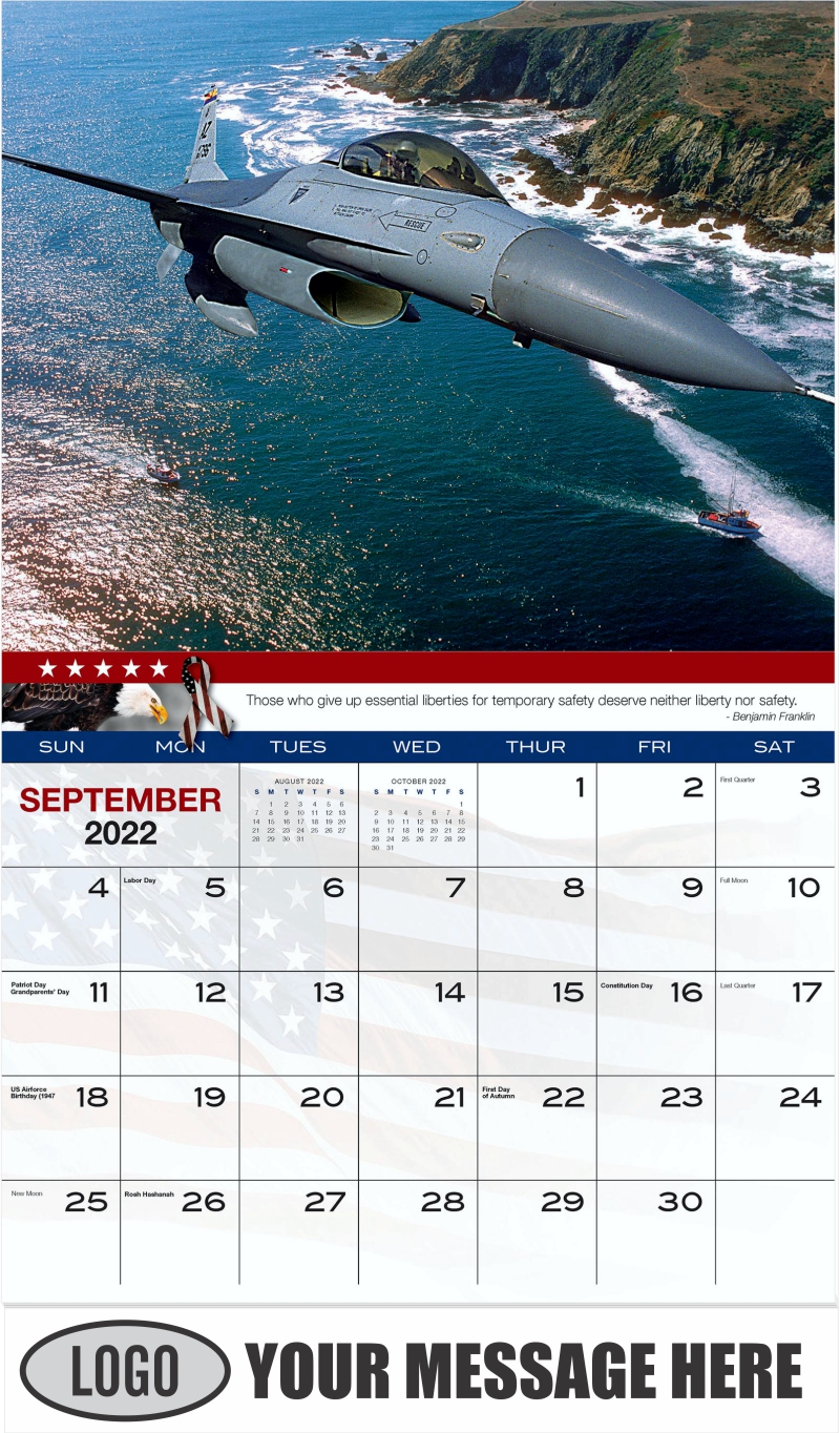 F-16 Fighting Falcon - September - Home of the Brave 2022 Promotional Calendar