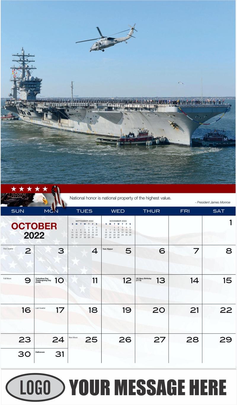 USS Dwight D. Eisenhower - October - Home of the Brave 2022 Promotional Calendar