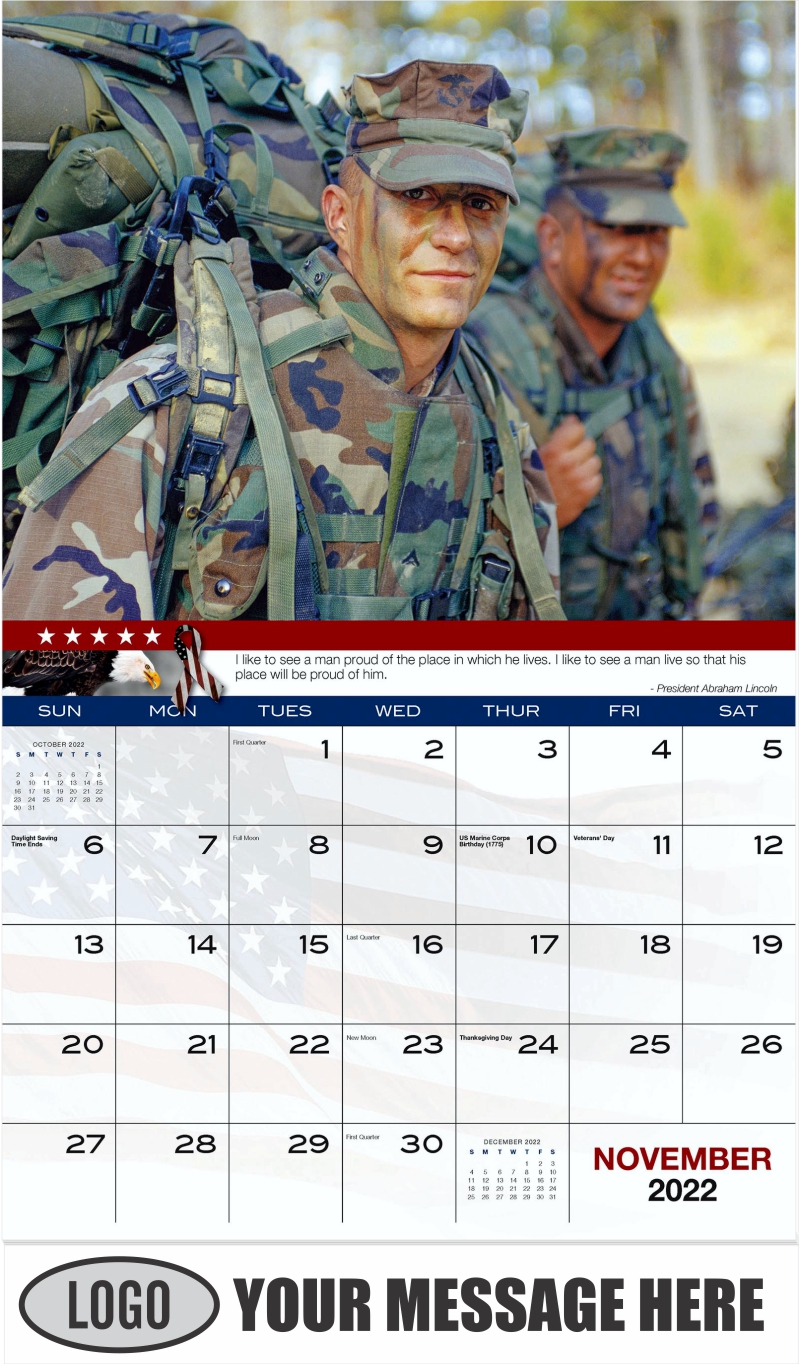 Marines Carrying Gear - November - Home of the Brave 2022 Promotional Calendar