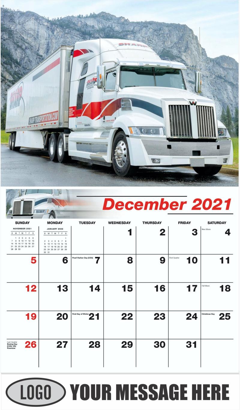 2016 Western Star - December 2021 - Kings of the Road 2022 Promotional Calendar