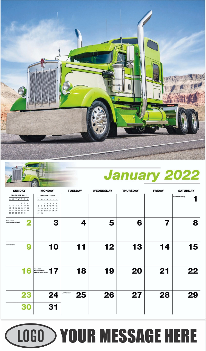 2000 Kenworth W900L - January - Kings of the Road 2022 Promotional Calendar