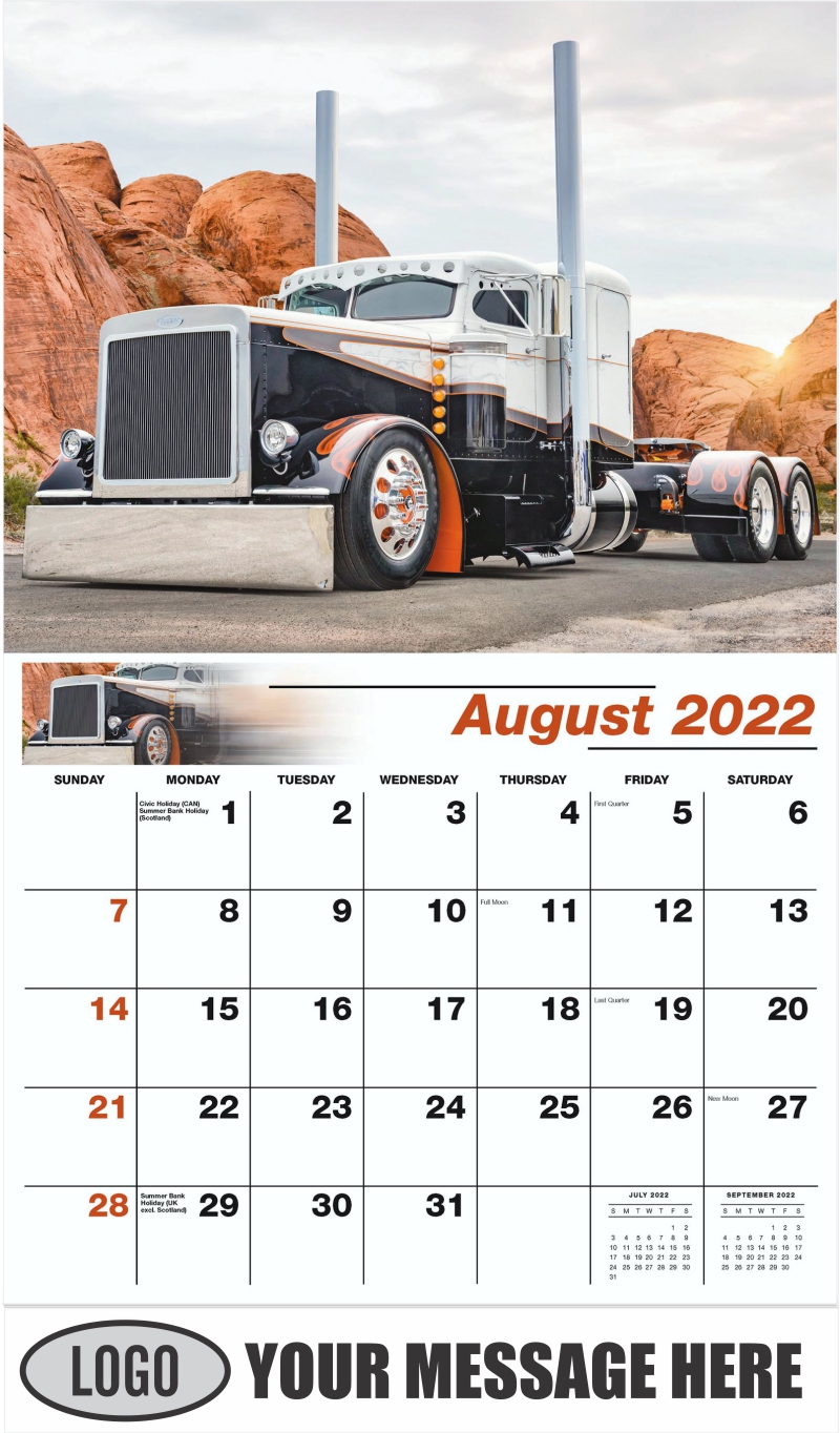 2018 Peterbilt 389 Custom - August - Kings of the Road 2022 Promotional Calendar