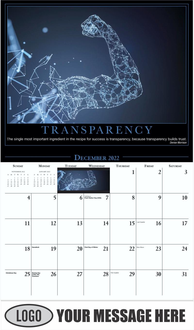 Transparency - December 2022 - Motivation 2022 Promotional Calendar