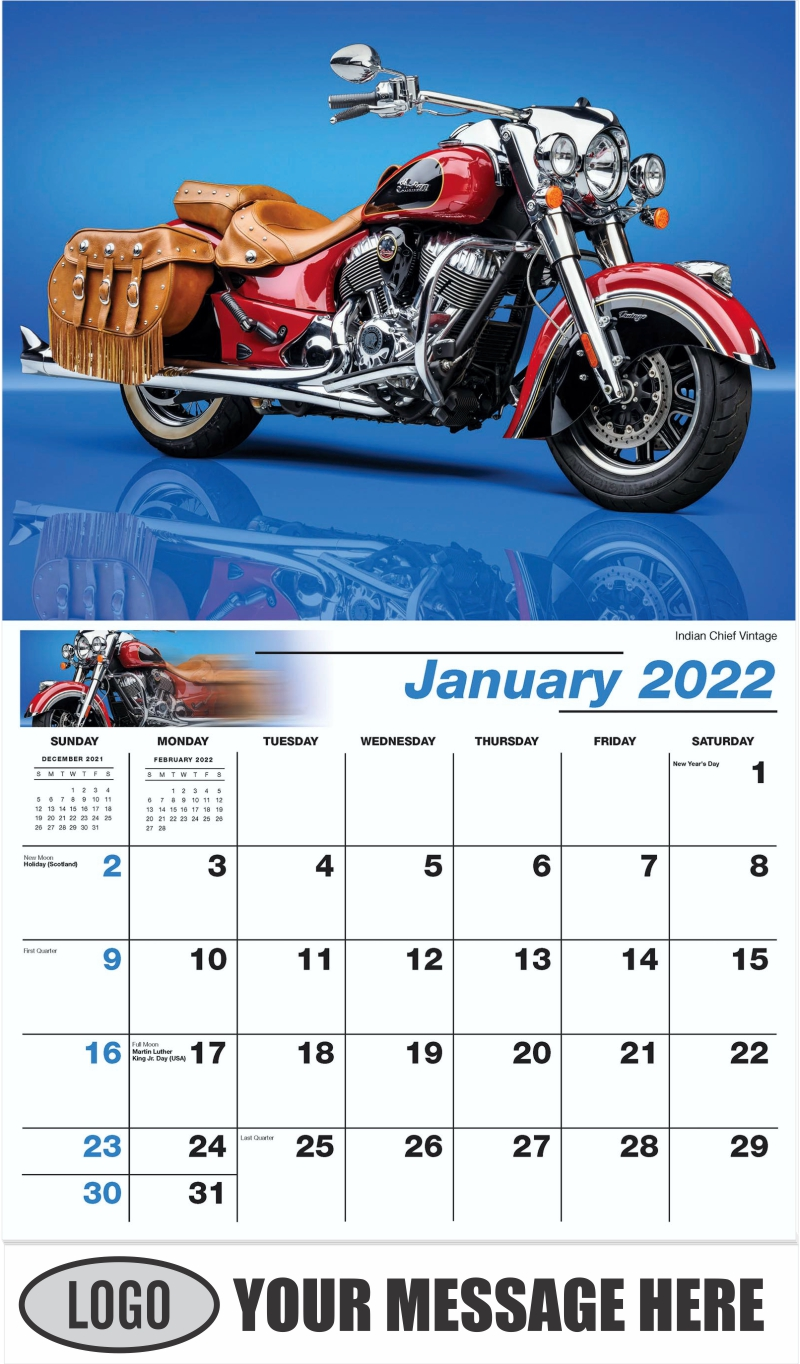 Indian Chief Vintage - January - Motorcycle Mania 2022 Promotional Calendar