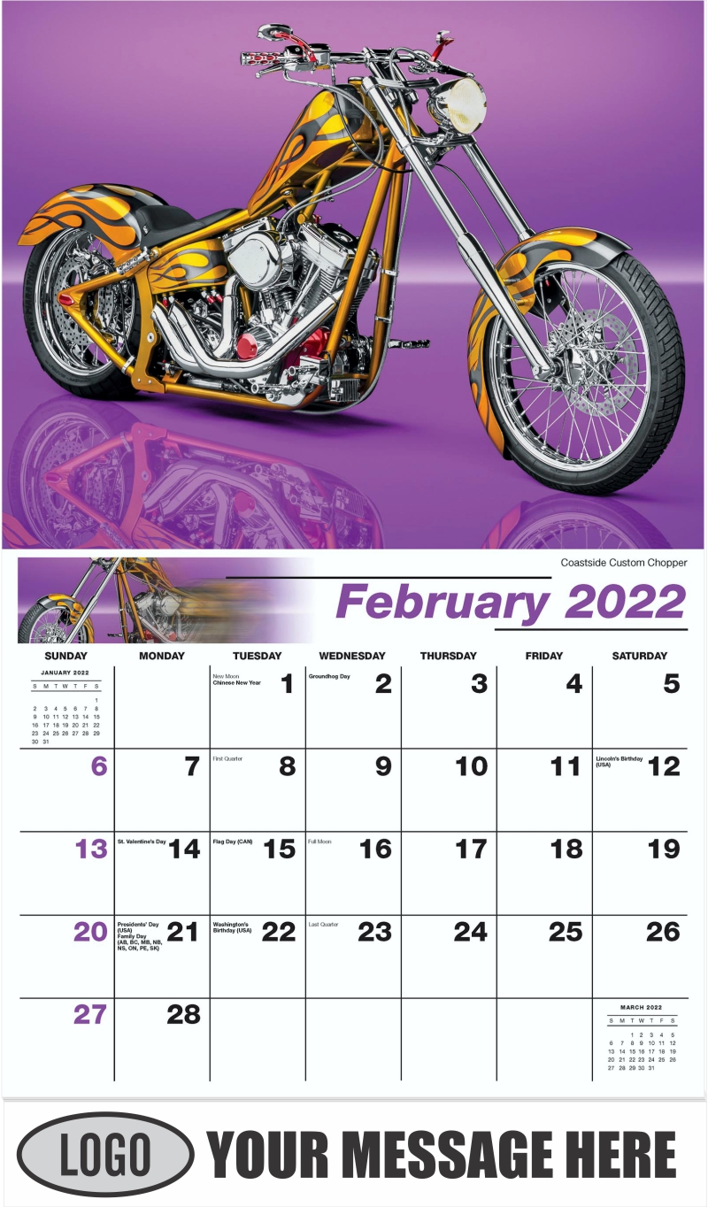 Coastside Custom Chopper - February - Motorcycle Mania 2022 Promotional Calendar