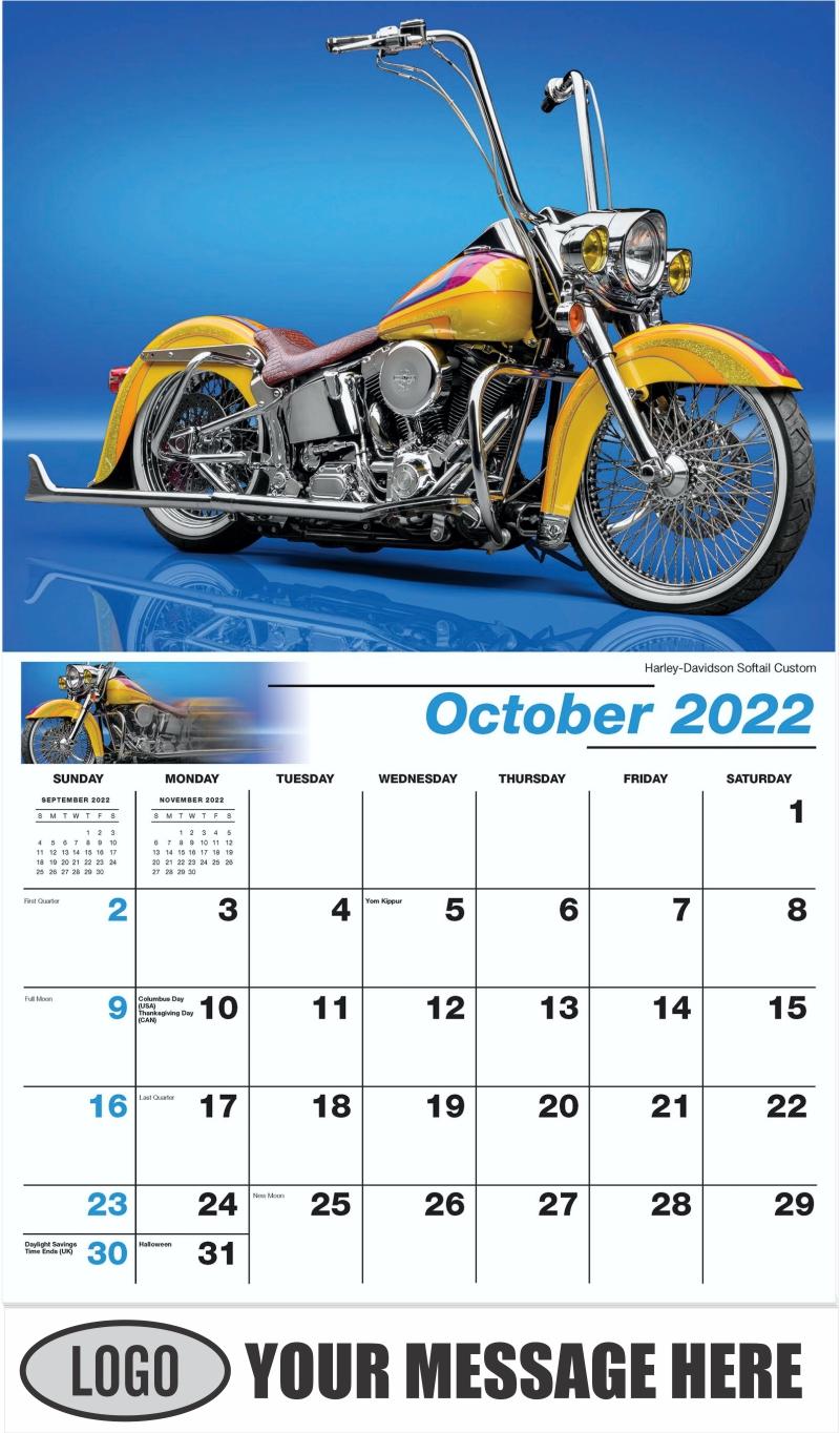 Harley-Davidson Softail Custom - October - Motorcycle Mania 2022 Promotional Calendar