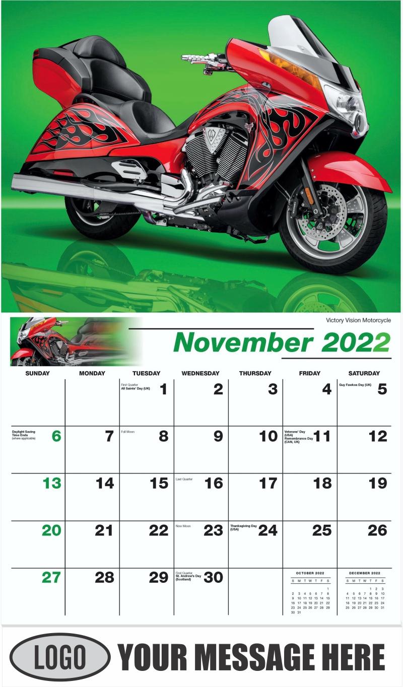 Victory Vision Motorcycle - November - Motorcycle Mania 2022 Promotional Calendar